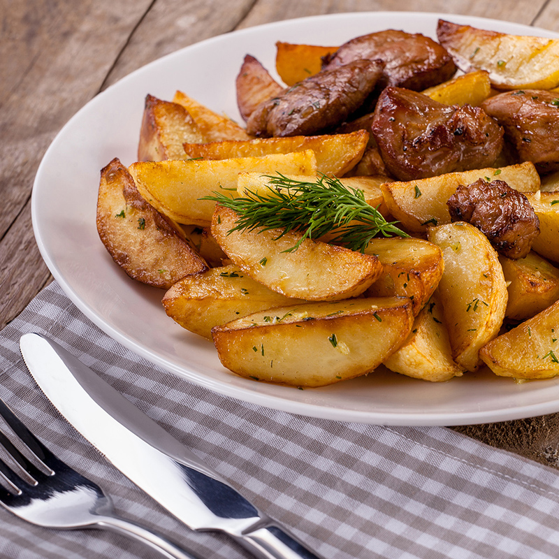 Delishious fried potatoes with meat menu still-life food photography photo7it