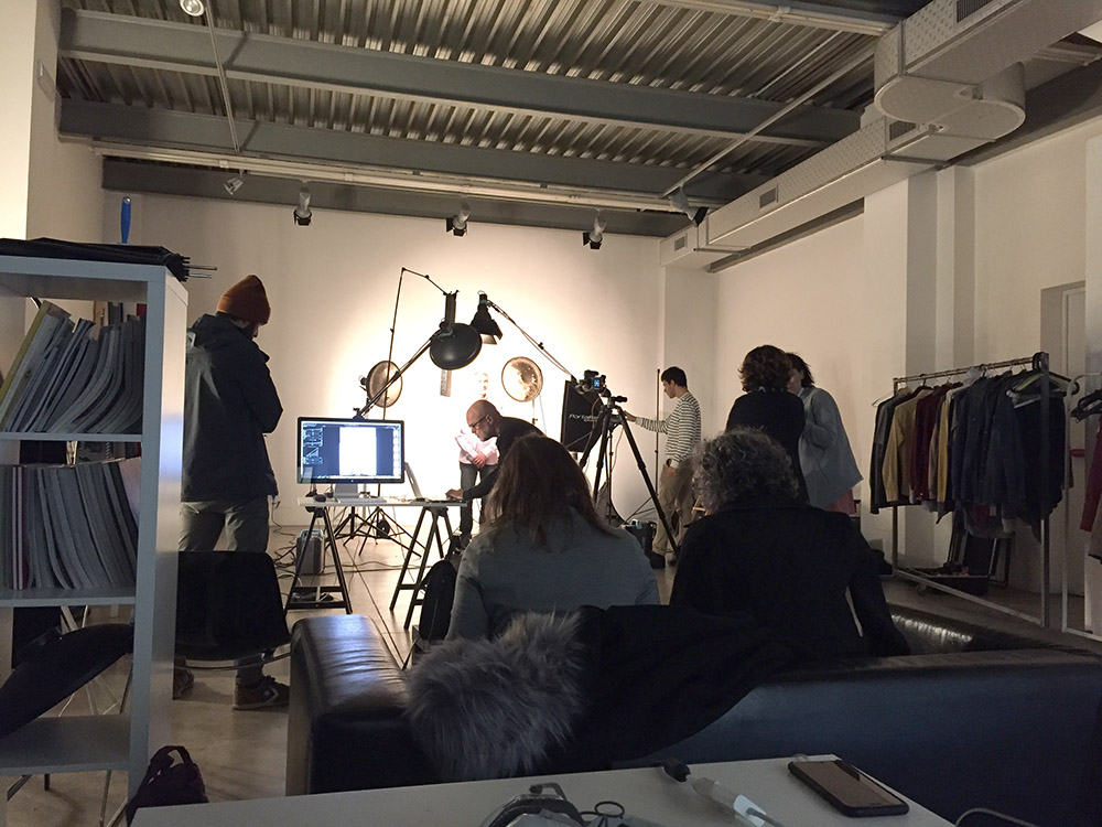 Commercial shooting backstage advertising production crew Profoto in Milan